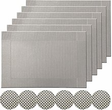 Famibay Grey Washable Placemats and Coasters Set