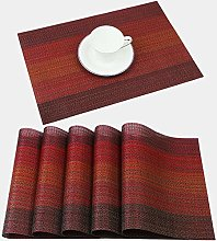 Famibay Placemats Set of 6 Washable PVC Table Mats