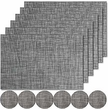 Famibay PVC Placemats and Coasters Set of 6 Grey