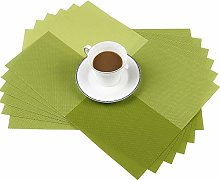 Famibay PVC Placemats Grid Weave Dining Room