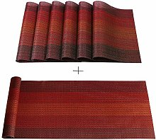 Famibay Red PVC Placemats Sets of 6 and Table