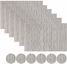 Famibay Silver Placemats and Coasters Set of 6