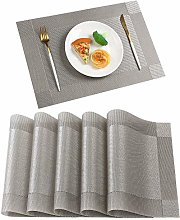 Famibay Washable Placemats Sets of 6 Silver Grey