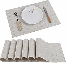 Famibay Washable Table Mats Set of 6 PVC Placemats
