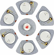 Famibay Wedge Felt Placemats with Round Center Set