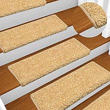 FAMIROSA Carpet Stair Treads 15 pcs 65x25 cm Beige
