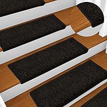 FAMIROSA Carpet Stair Treads 15 pcs 65x25 cm Black