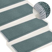 FAMIROSA Carpet Stair Treads 15 pcs 65x25 cm Blue