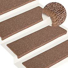 FAMIROSA Carpet Stair Treads 15 pcs 65x25 cm Brown
