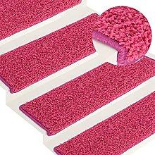 FAMIROSA Carpet Stair Treads 15 pcs 65x25 cm Pink