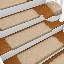 FAMIROSA Carpet Stair Treads 15 pcs 65x25 cm Taupe