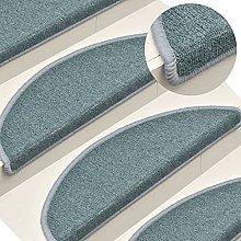 FAMIROSA Carpet Stair Treads 15 pcs Blue 65x24x4 cm
