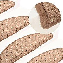 FAMIROSA Carpet Stair Treads 15 pcs Brown 56x20 cm