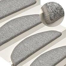 FAMIROSA Carpet Stair Treads 15 pcs Light Grey