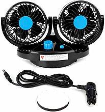 Fan, 12V Car Dual Head Electric Cooling Fan 360°
