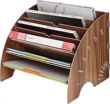 Fan-Shaped Wooden Desktop File Organizer with
