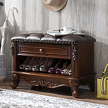 FANCHI Wooden Retro shoe bench,with Leather
