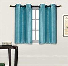 Fancy Linen 2 Panel Faux Silk Blackout Curtain Set