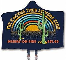 Fancyart Hooded Blanket, 3D Pattern Cactus Print