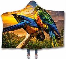 Fancyart Hooded Blanket, 3D Pattern Parrot Print