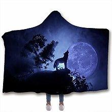 Fancyart Hooded Blanket, 3D Pattern Wolf Print
