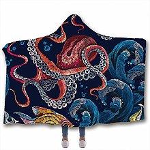 Fancyart Hooded Blanket, 3D Patterned Octopus