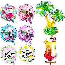 FANDE 8Pcs Hawaii Foil Balloons, Hawaiian Tropical