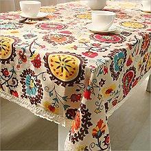 Fanjow® Cotton Linen Tablecloth Vintage Lace Sun