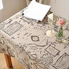 Fanjow® Rectangular Tablecloth Map Printed Cotton