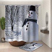 Fansu 3D Snowman Shower Curtain with 12 Hooks Anti