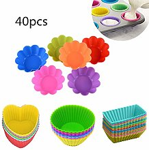 Fansu 40pcs Reusable Silicone Baking Cups, DIY