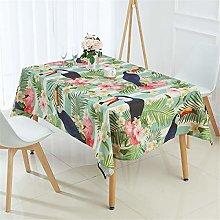 Fansu Flamingo Tablecloth Waterproof, Cotton Linen