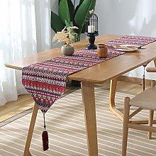 Fansu Table Runner Bohemian, Cotton Linen Handmade