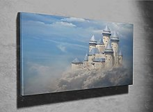 Fantasy Castle in The Clouds Photo Canvas Print