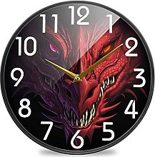 Fantasy Head of Angry Red Dragon Round Wall