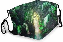 Fantasy Jungle Landscape Turquoise Bandana Face