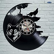 Fantasy Wolf Pictures Vinyl Record Wall Clock -