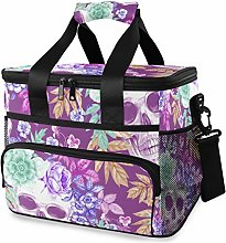 FANTAZIO Insulated Lunch Bag Purple Skull and