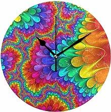 FANTAZIO Large Desk Clock Colourful Pattern Wall