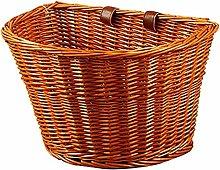 Fanville Wicker D-Shaped Bike Basket Portable