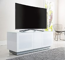 Faraday Small TV Stand In White With Glass Door