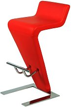 Farello Bar Stool In Red Faux Leather With Chrome