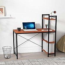 Farelves Computer Desk with 4 Tier Shelves on Left