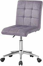 Farelves Grey Velvet Desk Chair for Home Office