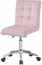 Farelves Pink Velvet Desk Chair for Home Office