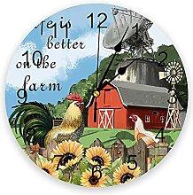 Farm Barn Cock Sunflower 3D Wall Clock Modern