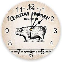 Farm Brown Pig Grain Rustic 3D Wall Clock Modern