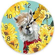 Farm Daisy Alpaca Cartoon 3D Wall Clock Modern