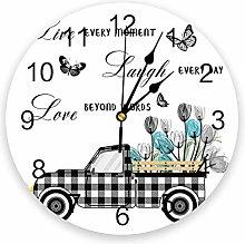 Farm Flowers PVC Wall Clock, Silent Non-Ticking