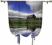 Farm House Decor Tie Up Curtain Panels,Rustic